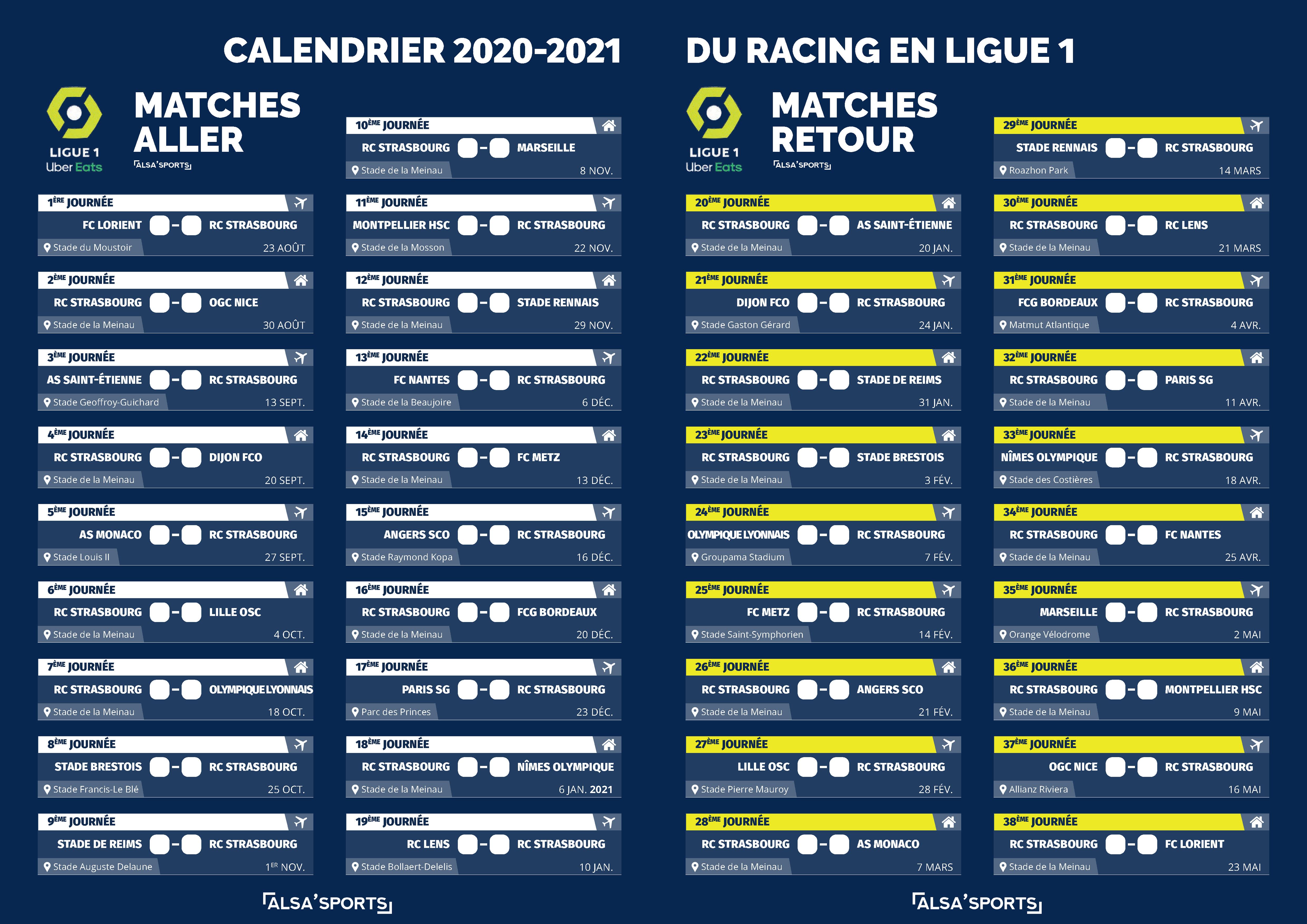 Calendrier Ligue 1 2021 Pdf Le calendrier du Racing à imprimer ! — Alsa'Sports